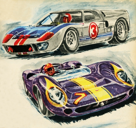 rétro,illustrations,bolides d'antan,autos,voitures de course,boivent,lola T70,ford MkIII