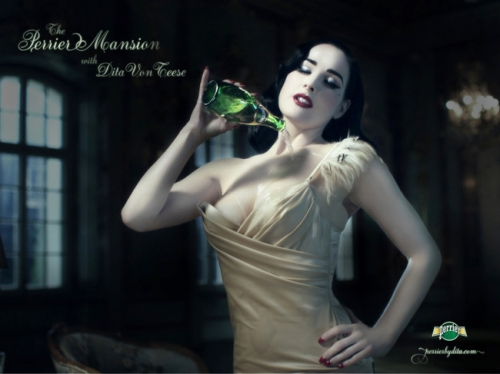 pin-up,pub,ads,vintage,rétro,perrier,dita von teese