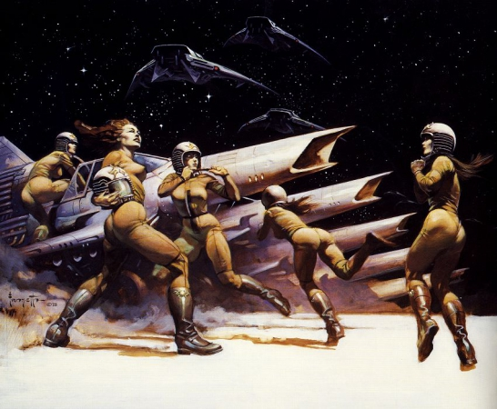 space girls,pin up spatiales, frazetta
