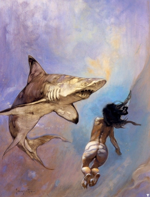 frazetta,illustrations,bande dessinée,bd,requiem for a shark