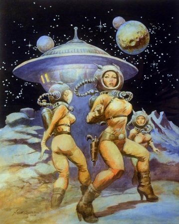 rétro,space girls,pulps,scifi,lost in space, don marquez