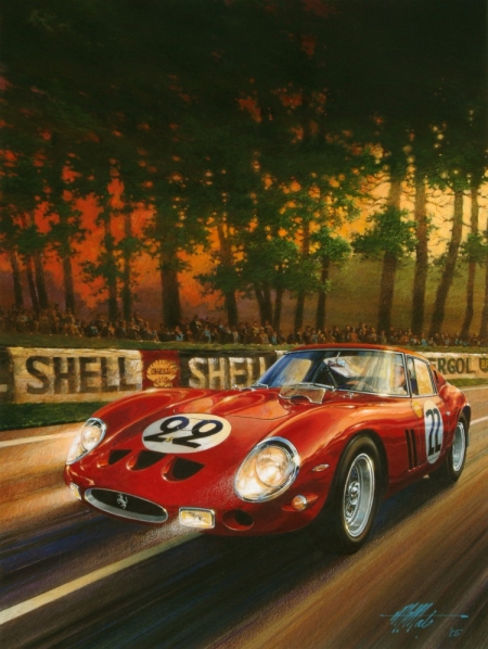 rétro,illustrations,bolides d'antan,autos,voitures de course,michael mate,ferrari 250 GTO