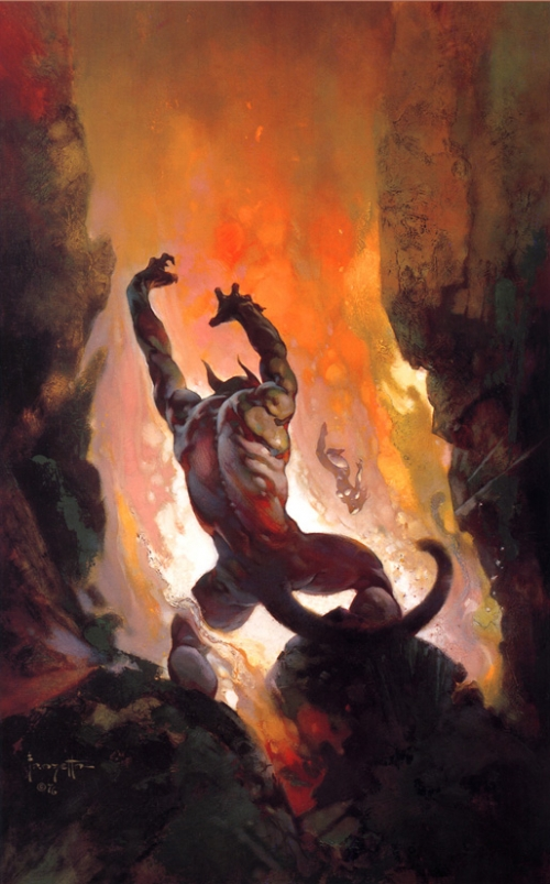 frazetta,illustrations,bande dessinée,bd,démon du feu