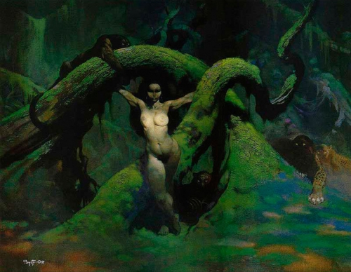 frazetta,illustrations,bande dessinée,bd,scifi,cat girl