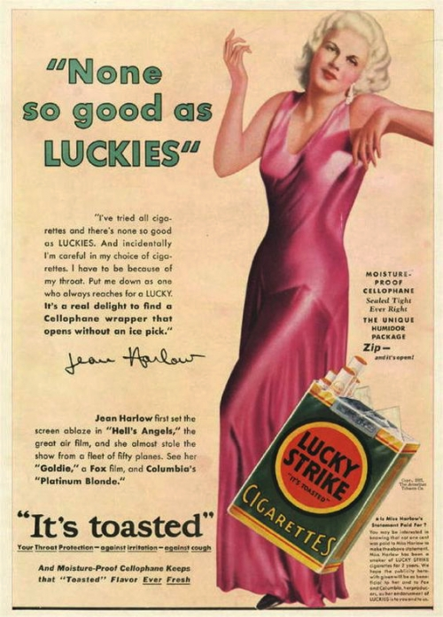 pin-up,pub,ads,vintage,rétro,lucky strike jean harlow