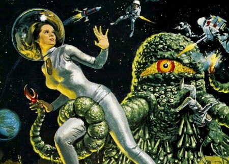 rétro,space girls,pulps,scifi,the green slime