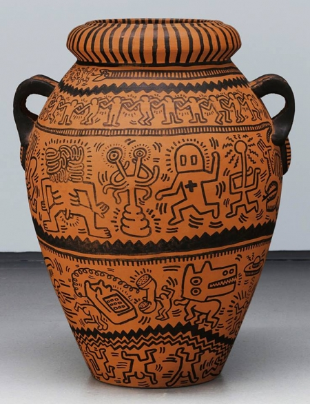 keith haring,vase